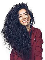 billiga -Remy-hår Hel-spets Spetsfront Peruk Brasilianskt hår Vattenvågor Deep Curly Svart Peruk Asymmetrisk frisyr 130% 150% 180% Hårtäthet Mjuk Klassisk Dam Bästa kvalitet Heta Försäljning Naturlig Svart Dam
