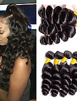 Недорогие -4 Связки Бразильские волосы Индийские волосы Свободные волны человеческие волосы Remy Натуральные волосы Человека ткет Волосы Пучок волос One Pack Solution 8-28 дюймовый Естественный цвет