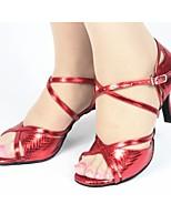 Недорогие -Жен. Обувь для латины Полиуретан На каблуках В мелкую точку Тонкий высокий каблук Персонализируемая Танцевальная обувь Красный