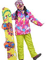 Недорогие -MARSNOW® Девочки Activewear Set Лыжная куртка и брюки С защитой от ветра Водонепроницаемость Сохраняет тепло Отдых и Туризм Зимние виды спорта Полиэфир Наборы одежды Одежда для катания на лыжах