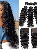 Недорогие -3 комплекта с закрытием Бразильские волосы Малазийские волосы Крупные кудри человеческие волосы Remy Необработанные натуральные волосы Подарки Косплей Костюмы Человека ткет Волосы 8-20 дюймовый