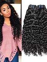 Недорогие -3 Связки Бразильские волосы Волнистые Натуральные волосы Человека ткет Волосы Уход за волосами Аксессуары для костюмов 8-28 дюймовый Естественный цвет Ткет человеческих волос Машинное плетение