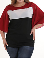 baratos -Mulheres Blusa Básico / Moda de Rua Patchwork, Estampa Colorida