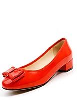 Недорогие -Жен. Лакированная кожа Весна Милая / Минимализм Обувь на каблуках На толстом каблуке Круглый носок Бант Красный / Винный / Миндальный