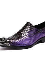 Недорогие -Муж. Официальная обувь Наппа Leather Весна & осень На каждый день / Английский Мокасины и Свитер Нескользкий Лиловый