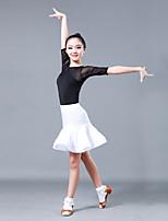 abordables -Danse latine Tenue Fille Utilisation Tulle / Soie Glacée Combinaison Demi Manches Taille moyenne Jupes / Haut