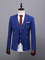 abordables -Couleur Pleine Coupe Sur-Mesure Polyester Costume - En Pointe Double Boutonnage à Six boutons