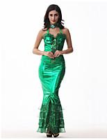 abordables -La Petite Sirène Aqua Queen Robes Femme Adulte Robe sirène et robe évasée Halloween Carnaval Mascarade Fête / Célébration Lycra Tenue Vert Sirène