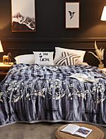 baratos -Super Suave, Estampado Listrado / Floral / Botânico Poliéster / Poliamida / Tecido Felpudo cobertores