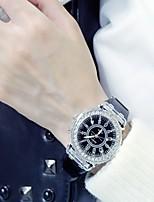 abordables -Femme Montre Habillée Quartz Noir / Blanc Lumineux Grand Cadran Analogique dames Etincelant Mode - Blanc Noir