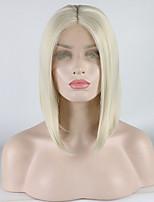 Недорогие -Синтетические кружевные передние парики Жен. Кудрявый Белый Средняя часть 180% Человека Плотность волос Искусственные волосы 12-16 дюймовый Регулируется / Кружева / Жаропрочная Белый Парик Короткие