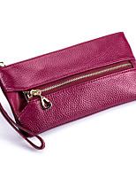 Недорогие -Жен. Мешки Воловья кожа Клатч Молнии Сплошной цвет Пурпурный / Винный / Тёмно-синий