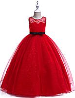 Недорогие -Дети Девочки Активный / Классический Для вечеринок / Праздники Однотонный Без рукавов Средней длины Платье Красный
