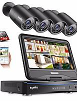 Недорогие -sannce® 4ch 1080p 4шт встроенный жк-видеорегистратор водонепроницаемая система видеонаблюдения монитор IP-камеры с 1 ТБ HD