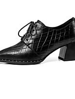Недорогие -Жен. Наппа Leather Осень Милая / Минимализм Обувь на каблуках На толстом каблуке Заостренный носок Ботинки Черный / Коричневый