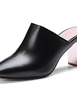 Недорогие -Жен. Наппа Leather Весна Милая / Минимализм Обувь на каблуках На толстом каблуке Квадратный носок Белый / Черный