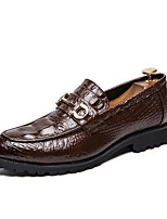 Недорогие -Муж. Официальная обувь Кожа Весна лето / Наступила зима Английский Мокасины и Свитер Нескользкий Черный / Коричневый