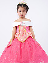 abordables -Aurora Robes Costume de Cosplay Fille Enfants Robes Noël Halloween Le Jour des enfants Fête / Célébration Polyester Tenue Rose Princesse