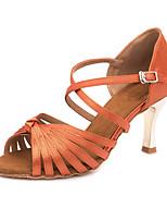 Недорогие -Жен. Обувь для латины Сатин Сандалии / Кроссовки Пряжки Позолоченная прозрачная пятка Персонализируемая Танцевальная обувь Оранжевый