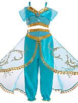 abordables -Princesse Jasmine Costume de Cosplay Fille Enfant Halloween Noël Halloween Carnaval Fête / Célébration Tulle Polyester Tenue Vert Princesse