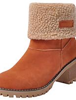 Недорогие -Жен. Замша Зима На каждый день Ботинки На толстом каблуке Круглый носок Сапоги до середины икры Серый / Зеленый / Хаки