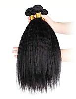 Недорогие -3 Связки Бразильские волосы Индийские волосы Вытянутые Не подвергавшиеся окрашиванию Необработанные натуральные волосы Подарки Косплей Костюмы Человека ткет Волосы 8-28 дюймовый Естественный цвет