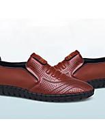 Недорогие -Муж. Комфортная обувь Кожа Лето Мокасины и Свитер Черный / Коричневый / Синий