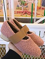 Недорогие -Жен. Искусственный мех Наступила зима Обувь на каблуках На толстом каблуке Круглый носок Розовый / Миндальный