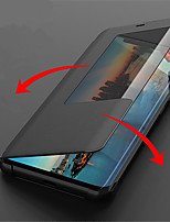 Недорогие -Кейс для Назначение Huawei Huawei Mate 20 Lite / Huawei Mate 20 Pro с окошком / Флип / Авто Режим сна / Пробуждение Чехол Однотонный Твердый Кожа PU для Huawei Mate 20 lite / Huawei Mate 20 pro