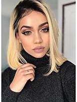 billiga -Obehandlad hår Spetsfront Peruk Brasilianskt hår Silky rakt Blond Peruk Bob-frisyr 150% Hårtäthet Värmetåligt Häftig med Clip limfria Blond Dam Mellanlängd Äkta peruker med hätta WoWEbony