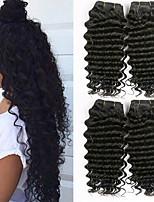 Недорогие -4 Связки Бразильские волосы Глубокий курчавый Не подвергавшиеся окрашиванию Необработанные натуральные волосы Человека ткет Волосы Пучок волос One Pack Solution 8-28 дюймовый Естественный цвет