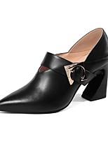 Недорогие -Жен. Кожа Осень Обувь на каблуках На толстом каблуке Черный / Бежевый