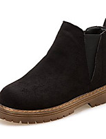 Недорогие -Жен. Замша Зима На каждый день Ботинки На низком каблуке Ботинки Черный / Коричневый
