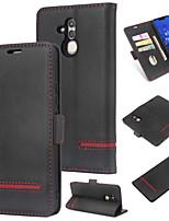 Недорогие -Кейс для Назначение Huawei Huawei Mate 20 Lite Кошелек / Бумажник для карт / Флип Кейс на заднюю панель Однотонный Твердый Кожа PU для Huawei Mate 20 lite