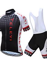 Недорогие -TELEYI С короткими рукавами Велокофты и велошорты-комбинезоны - Белый / Черный Велоспорт Быстровысыхающий Клетки / Эластичная