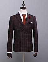 abordables -Avec motifs Coupe Sur-Mesure Polyester Costume - En Pointe Double Boutonnage à Six boutons