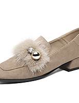 Недорогие -Жен. Синтетика Наступила зима Милая / Английский Обувь на каблуках На толстом каблуке Черный / Телесный