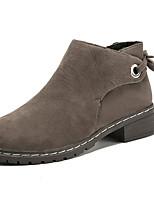 Недорогие -Жен. Замша Зима На каждый день Ботинки На толстом каблуке Круглый носок Ботинки Черный / Хаки