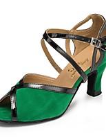 Недорогие -Жен. Обувь для латины Замша На каблуках Планка Кубинский каблук Персонализируемая Танцевальная обувь Зеленый
