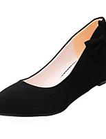 Недорогие -Жен. Полиуретан Зима Обувь на каблуках Туфли на танкетке Круглый носок Черный