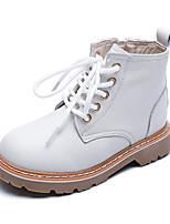 Недорогие -Девочки Обувь Кожа Зима Модная обувь Обувь на каблуках Молнии для Дети Белый / Черный / Розовый / Ботинки