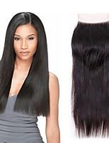 Недорогие -Бразильские волосы 4x4 Закрытие / Бесплатно Part Прямой Бесплатный Часть Швейцарское кружево Не подвергавшиеся окрашиванию Жен. Для вечеринок / Классический / Натуральный / Черный
