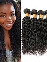 Недорогие -4 Связки Малазийские волосы Kinky Curly Натуральные волосы Подарки / Человека ткет Волосы / Удлинитель 8-28 дюймовый Естественный цвет Ткет человеческих волос Машинное плетение