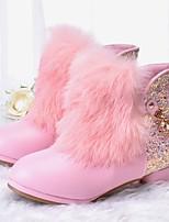 Недорогие -Девочки Обувь Искусственный мех Зима Удобная обувь / Модная обувь Ботинки для Для подростков Белый / Розовый