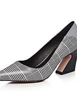 Недорогие -Жен. Наппа Leather Весна Обувь на каблуках На толстом каблуке Закрытый мыс Серый