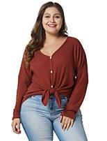 Недорогие -женская свободная футболка больших размеров - сплошной цвет V