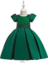 Недорогие -Дети Девочки Активный / Милая Для вечеринок / Праздники Однотонный С короткими рукавами До колена Платье Зеленый