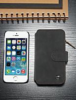 Недорогие -CaseMe Кейс для Назначение Apple Кейс для iPhone 5 Бумажник для карт / со стендом / Флип Чехол Однотонный Твердый Кожа PU для iPhone SE / 5s / iPhone 5