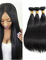 Недорогие -3 Связки Бразильские волосы Индийские волосы Прямой Не подвергавшиеся окрашиванию Необработанные натуральные волосы Подарки Человека ткет Волосы Сувениры для чаепития 8-28 дюймовый Естественный цвет
