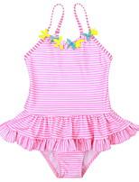 Недорогие -Дети (1-4 лет) Девочки Спорт Однотонный Полиэстер Купальник Розовый